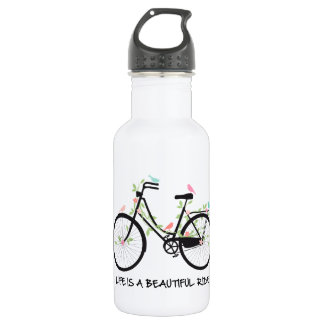 Life is a beautiful ride, vintage bicycle 532 ml water bottle