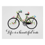 Life is a beautiful ride, vintage bicycle poster