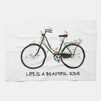 Life is a beautiful ride, vintage bicycle tea towel
