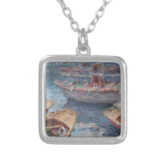 Life is a Fish Boat Oil Painting Square Pendant Necklace