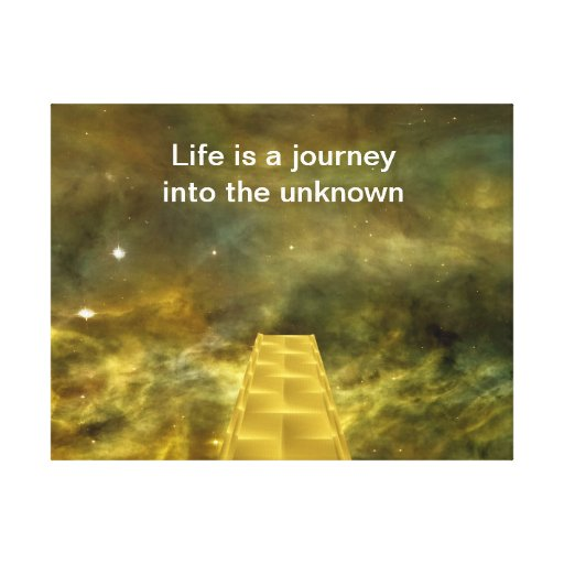 Life is a journey into the unknown stretched canvas print