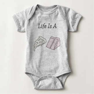 Life is a Pizza Cake Baby Bodysuit - Grey