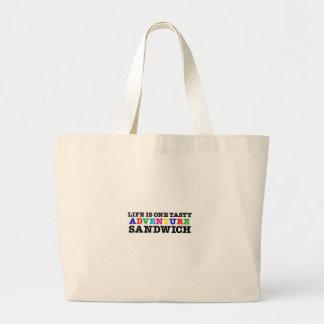 Life Is A Tasty Adventure Sandwich (rainbow) Jumbo Tote Bag