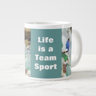 Life is a Team Sport Large Mugs Seaglass Fossils Extra Large Mug