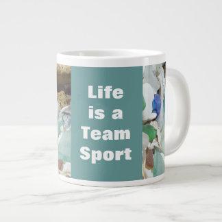 Life is a Team Sport Large Mugs Seaglass Fossils Extra Large Mug