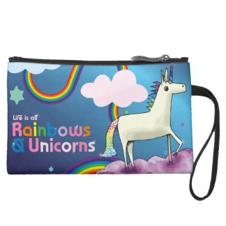 Life is all Rainbows and Unicorns Suede Wristlet