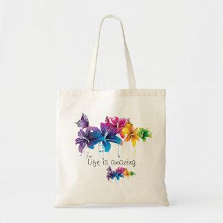 """Life is AMAZING "" happy tote bag"