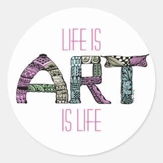 Life is Art Word Doodle Art Round Sticker
