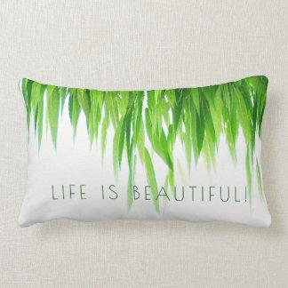 Life Is Beautiful Green Leaf Canopy on White Lumbar Cushion