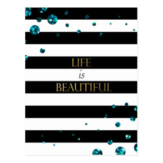 Life is Beautiful Teal Postcard