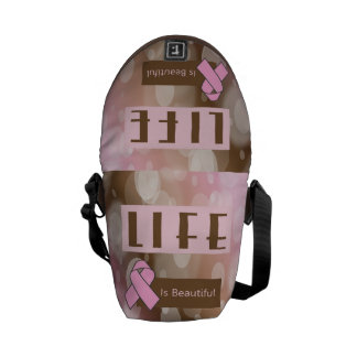 Life Is Beautiiful, Breast Cancer Survivor Messenger Bags