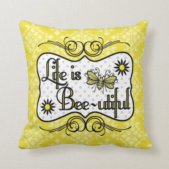 Life is Bee-utiful Personalised Pillow (Yellow)