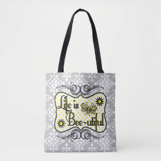 Life is Bee-utiful Tote Bag (Gray)