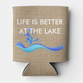 Life is Better at Lake (white) Burlap Can Cooler