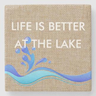 Life Is Better At Lake (white) Burlap Coaster