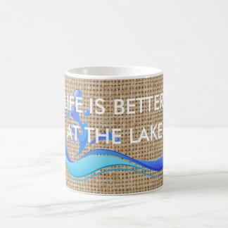 Life Is Better At Lake (white) Burlap Coffee Mug