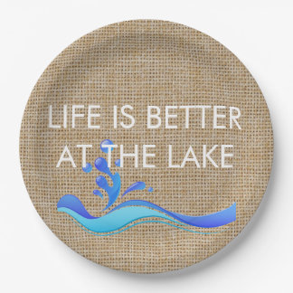 Life Is Better At Lake (white) Burlap Paper Plates