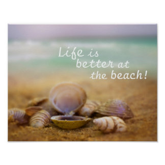 Life is better at the beach customisable poster