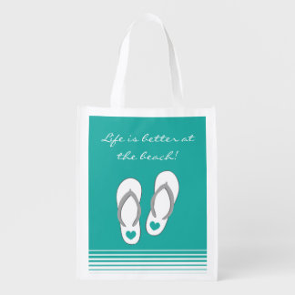 Life is better at the beach flip flops grocery bag