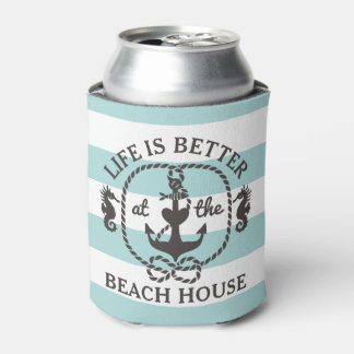 Life is Better at the Beach | Nautical Pool Blue Can Cooler