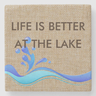Life Is Better At The Lake Burlap Marble Coaster