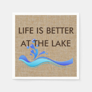 Life Is Better At The Lake Burlap Napkins Paper Napkin