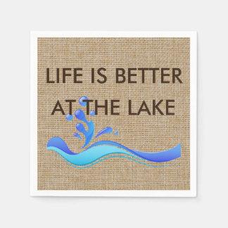 Life Is Better At The Lake Burlap Napkins Paper Serviettes