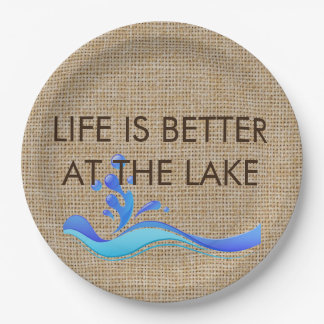 Life Is Better At The Lake Burlap Paper Plates