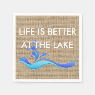Life Is Better At The Lake (white) Burlap Napkins Paper Napkin