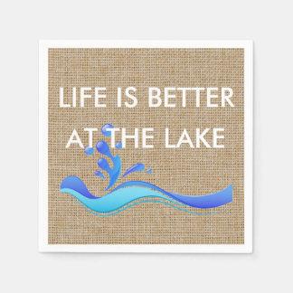 Life Is Better At The Lake (white) Burlap Napkins Paper Serviettes