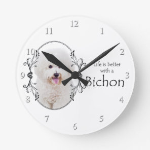 Life is Better Bichon Wall Clock
