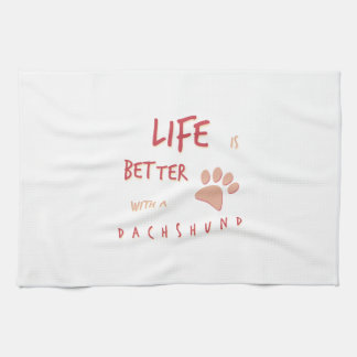 Life is Better Dachshund Tea Towel