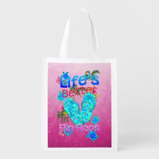 Life Is Better In Flip Flops Reusable Grocery Bag