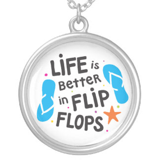Life is Better in Flip Flops Silver Plated Necklace