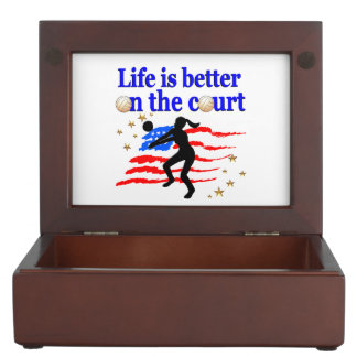 LIFE IS BETTER ON THE COURT USA VOLLEYBALL DESIGN KEEPSAKE BOX