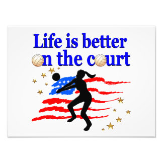 LIFE IS BETTER ON THE COURT USA VOLLEYBALL DESIGN PHOTO ART
