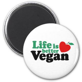 Life Is Better Vegan 6 Cm Round Magnet
