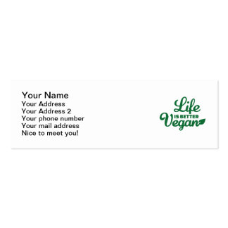 Life is better vegan pack of skinny business cards