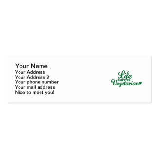 Life is better vegetarian pack of skinny business cards