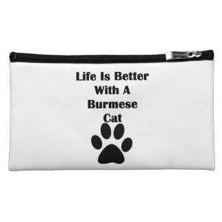Life Is Better With A Burmese Cat Cosmetics Bags