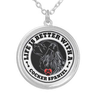 Life Is Better With A Cocker Spaniel Silver Plated Necklace