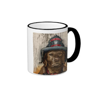 """""""Life is Better With a Firefighter"""" Chocolate Lab Mugs"""