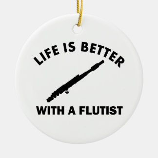 Life is better with a flutist round ceramic decoration