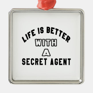 Life Is Better With A Secret agent Christmas Ornaments