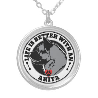 Life Is Better With An Akita Silver Plated Necklace