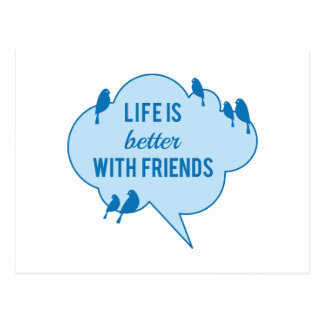 Life is better with friends, birds on blue cloud postcard