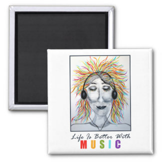 Life Is Better With Music Art w/Title Square Magnet