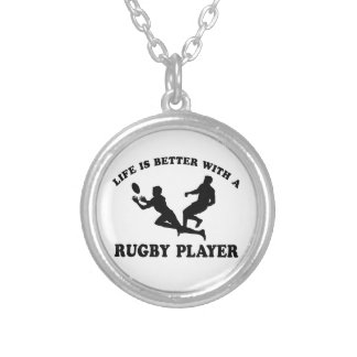 Life is better witha Rugby Player Silver Plated Necklace