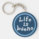 Life is bueno basic round button key ring