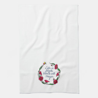 Life is Fragile Handle with Prayer Poppy Wreath Tea Towel
